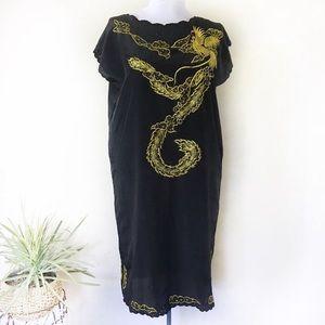 Vintage Black W/ Yellow Embroidery Dragon Dress